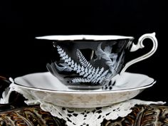 Stunning Royal Albert Black and White Fern Teacup, Avon Shaped Cup and Saucer 12815