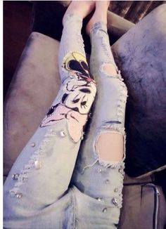 Plus size Mickey Mouse brand desigual stretchable denim ripped Jeans skinny  pants with Hole Rhinestones for 65743714e6