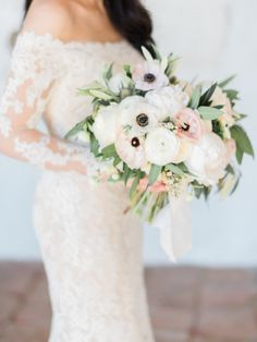 Garden rose, peony, anemone and greenery wedding bouquet: http://www.stylemepretty.com/2016/09/17/all-white-franciscan-gardens-wedding/ Photography: Ether and Smith - http://etherandsmith.com/