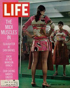 "1970 Life Magazine Cover, ""The Midi Muscles In,"" Longer Skirts Fashion Cover vintage fashion style 70s history mini vs midi"