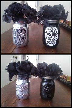 Halloween Skull Mason jars ~Christle's Creations~