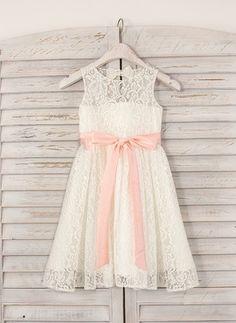 A-Line/Princess Knee-length Flower Girl Dress - Lace Sleeveless Jewel With Sash/Bow(s)/Back Hole (010091380)