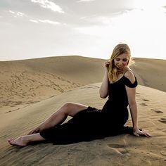 Instagram Photographie - In den Dünen von Maspalomas - Gran Canaria - Schwarzes Maxi Kleid
