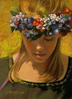 Flower Maiden by Rita Kirkman Pastel ~ 8 x 6 inches