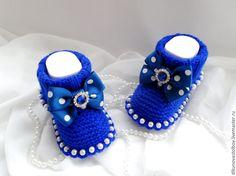"""Купить Пинетки """" Ультрамарин"""" - тёмно-синий, в горошек, Ультрамарин, сине-белый, пинетки для новорожденных"""