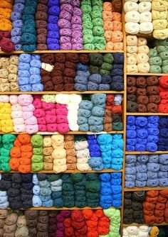 If I had a house where I could have a craft room, 1 wall would be like this only the yarn would be grouped into clear container with the directions for the projects with them Crochet Yarn, Knitting Yarn, Yarn Storage, Yarn Stash, Wool Yarn, Rainbow Colors, Just In Case, Crochet Projects, Sewing Crafts