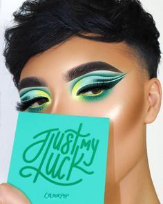 Green Eyeshadow Using Just My Luck Palette on the eyesUsing Just My Luck Palette on the eyes Makeup Eye Looks, Eye Makeup Art, Full Face Makeup, Cute Makeup, Pretty Makeup, Eyeshadow Makeup, Eyeshadow Palette, Colourpop Palette, Makeup Tutorials