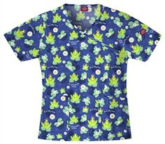 """Dickies Mock Wrap Scrub Top in """"Un-frog-ettable Smiles"""" 82700C-UFGE Dickies original Junior fit mock wrap top features a contrast trim, two patch pockets and an MP3 player pocket on left sleeve. Center back length: 24"""". $15.30 #scrubs #scrubcouture #nurses"""