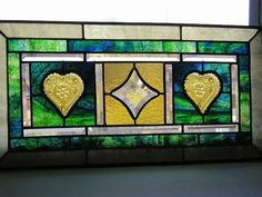 Stained Glass Panel -  Transom - Vintage Tiara Heart Plates -  Home Decor - Window Treatment - Handcrafted - Made in USA