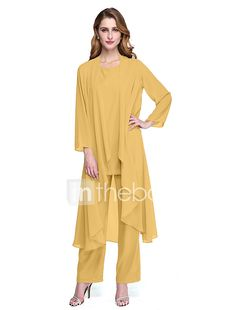 5527ee62591 Jumpsuits   Pantsuit Scoop Neck Ankle Length Chiffon Mother of the Bride  Dress with Pleats by LAN TING BRIDE®   Wrap Included
