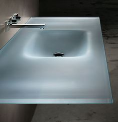 POWDER ROOM COUNTER SINK - BY VITRAFORM -  COUNTER-SINK STYLE Rectangular Countersink Starphire Satin Etched