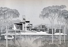 Paul Rudolph Architectural drawings via @Amara Humphry Collins Edit