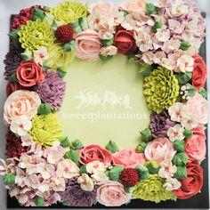 Square Wreath Buttercream Flower Cake