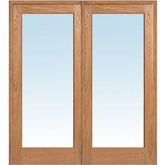 Wood 2-Panel Red Oak Interior French Door