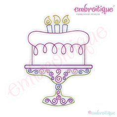 Curly Birthday Cake Outline Embroidery Design