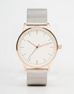 Bild 1 von ASOS – Mesh-Uhr aus verschiedenen Metallen