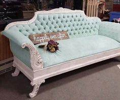 Victorian painted couch. Vintage couch painted with Miss Lillians No Wax Chock Paint. Used as a rental prop. Shabby Chic Decor...This couch is available for prop rental...more info at www.facebook.com/shabbyave
