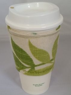 Green Leaf Reusable Zarf by TheDailyThread on Etsy #etsy #coffeeholder #zarf #green #reusable #gift