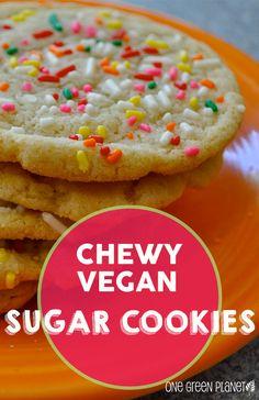 The best Chewy Vegan Sugar Cookies Healthy Vegan Dessert, Coconut Dessert, Oreo Dessert, Vegan Dessert Recipes, Vegan Treats, Vegan Foods, Vegan Dishes, Dairy Free Recipes, Healthy Recipes