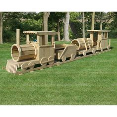 Amish Made 25 ft Long Wooden 4 Piece Train Playground Set