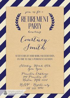 Classy Black And White RetirementPartyInvitations  Retirement