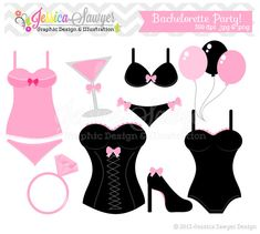 INSTANT DOWNLOAD,  Bachelorette party clip art - bridal shower clip art - lingerie clip art - commercial use