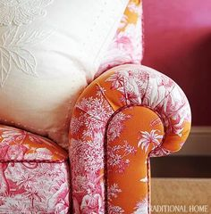 orange and pink toile.  palm beach.  robin weiss. traditional home. Could incorporate current colour scheme but adding patter and luxurious fabrics