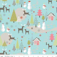 Riley Blake A Merry Little Christmas Main Aqua - The Supermums Craft Fair