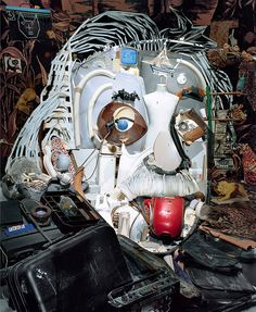 ernard Pras, um artista francês, especializou-se numa arte bem interessante. Ele pega vários objetos distintos e os empilha como se parecesse lixo comum. No entanto, observando através de um determinado ângulo você pode ver uma imagem, através de um efeito anamórfico. É impressionante.