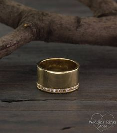 Traditional wide eternity woman's wedding band with diamonds made in solid yellow gold Silver Engagement Rings, Silver Rings, Wedding Ring Designs, Wedding Rings, Wide Diamond Wedding Bands, Fancy Wedding Dresses, Mansfield Park, Mom Ring, Womens Wedding Bands
