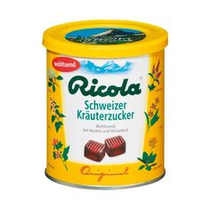The proven Ricola Swiss Herb Candy contain the power of the a secret, produced since herbal mixture. The Original Swiss Herb Candy is distinguish Swiss Miss, Kraut, Popular Recipes, Coffee Cans, Soul Food, Childhood Memories, Herbalism, Cool Things To Buy, Herbs