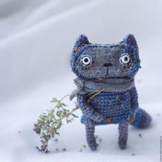 Купить Домовенок - котик, кот, домовой, домовенок, карманная игрушка, хлопок, проволока, синтетический наполнитель