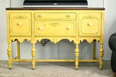 distressed aqua bookcases | Mustard Yellow Buffet
