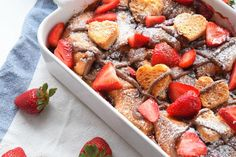Nutella Cream Cheese Overnight French Toast Bake is made with tender buttery croissants and is perfect for Valentine's Day!