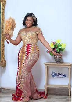 Ghana Wedding Dress, African Print Wedding Dress, African Bridesmaid Dresses, African Party Dresses, African Print Dress Designs, African Wedding Attire, African Lace Dresses, Ghana Traditional Wedding, African Traditional Wedding Dress