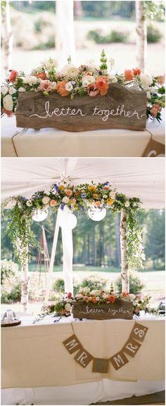 Sweetheart table, rustic wedding, burlap pennant, wooden sign, better together, orange flowers // Jennifer Manzi Photography