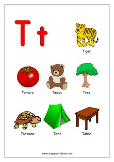 Free Printable English Worksheets - Alphabet Reading (Letter Recognition And Objects Starting With Each Letter) - MegaWorkbook Alphabet Words, Alphabet Phonics, Alphabet Pictures, Alphabet Charts, Teaching The Alphabet, Alphabet Activities, Preschool Activities, Letter T Words, Letter T Worksheets
