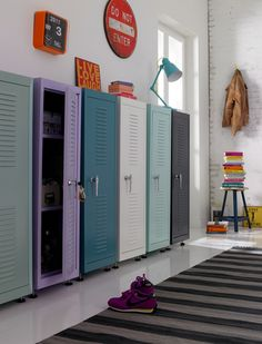 I would paint these lockers a rusty red color great for an entry way to hang up coats store shoes and such...