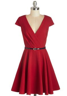 Afternoon Aperitifs Dress by Closet - Solid, Exposed zipper, Pockets, Belted, Daytime Party, Nautical, Americana, Fit & Flare, Cap Sleeves, Knit, Better, V Neck, Mid-length, Red