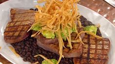 Grilled Tuna with Black Bean Chili, Avocado Puree and Fried Tortillas is an easy, delicious meal to serve to your family.