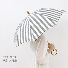 SURMER(シュルメール)リネン日傘/ブロックストライプ(耳あり)