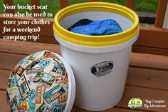 Easy DIY Camp Seat from a 5 Gallon Bucket - Tiny Camper Big Adventure Kids Camping Gear, Camping Stool, Weekend Camping Trip, Camping With Kids, Family Camping, Camping Hacks, Camping Packing, Camping Gadgets, Camping Outfits