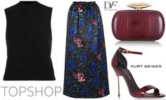 Topshop Knitted Sleeveless Funnel Top – Topshop US and Topshop UK Topshop Rose Satin Maxi Skirt – Topshop US, Topshop UK and Norstrom Diane von Furstenberg Flirty Elaphe Clutch – Net-A-Porter.com Kurt Geiger London 'Belgravia' Sandals – Kurt Geiger