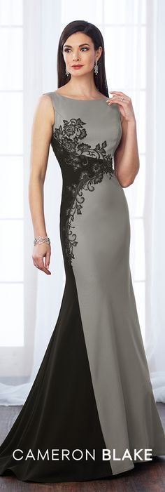 Formal Evening Gowns by Mon Cheri - Fall 2017 - Style No 217651 - charcoal gray and black sleeveless crepe and lace fit and flare evening gown