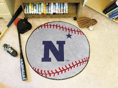 """U.S. Naval Academy Baseball Mat 27"""""""" diameter"""