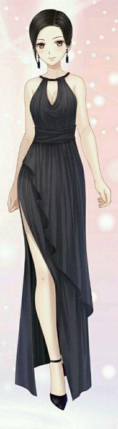 Manga fille robe noir