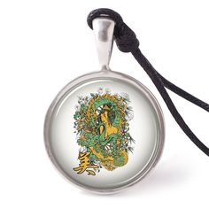vietguild Lady Dragon Necklace Pendants Pewter Silver
