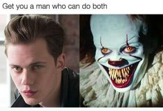 "18 Scarily Funny ""It"" Memes That Will Make You Sh-It Yourself With Laughter Me: It's not funny to explain the joke. Also me: The guy on the left is Bill Skarsgard, who plays the new Pennywise seen on the right! Horror Movies Funny, Scary Movies, Comedy Movies, Scary Movie Memes, Bill Skarsgard Pennywise, It The Clown Movie, Image Film, Pennywise The Dancing Clown, Illustration Mode"