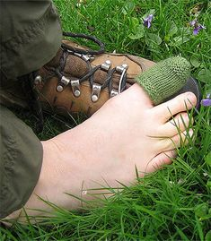 Free Knitting Pattern for Toe Cozy - Toe cushion to protect your toe in hiking boots, especially hiking down hill. Uses 10 – 12 yards (9 – 11 m) of fingering yarn so it's a great use for scrap yarn. Designed by Sharon Fuller