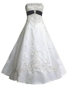 Faironly White Black Satin Bridal Wedding Dress